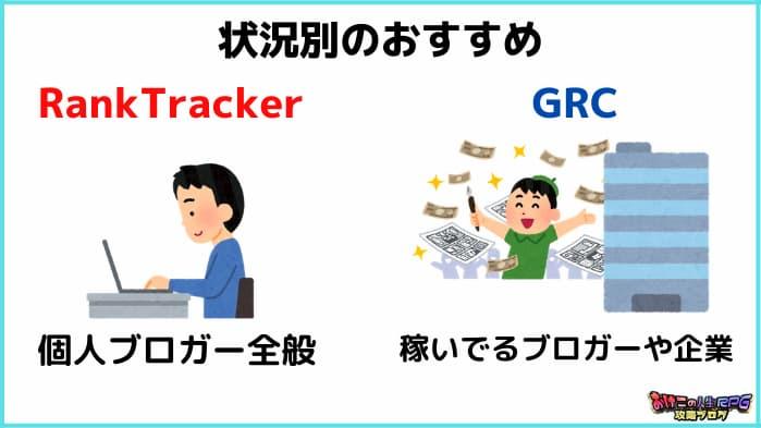 GRCとRank Tracker比較【結論、おすすめは状況によって変わる】