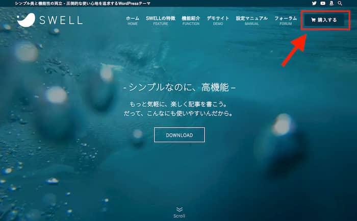 SWELLのトップページから「購入する」ボタンをクリック